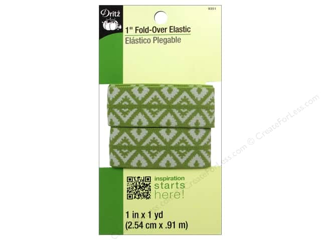 Fold-Over Elastic by Dritz 1 in. x 1 yd. Foulard Design Green
