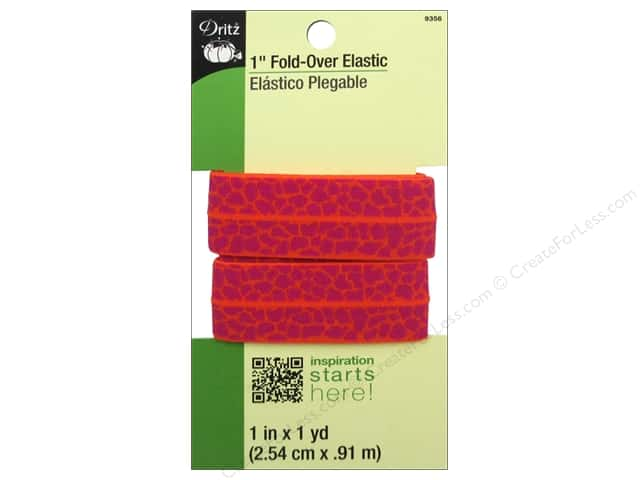 Fold-Over Elastic by Dritz 1 in. x 1 yd. Giraffe Orange/Red