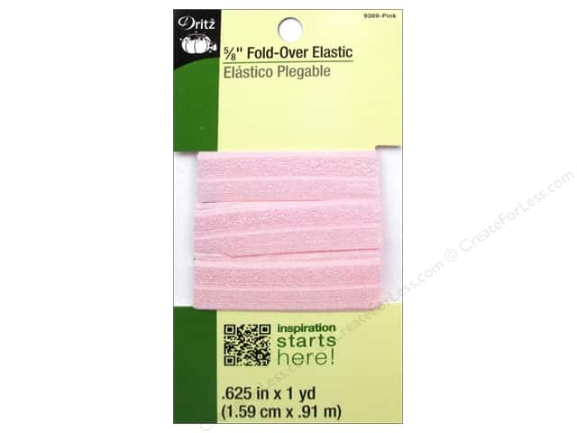 Fold-Over Elastic by Dritz 5/8 in. x 1 yd. Light Pink