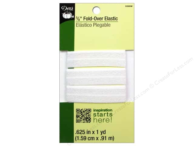 Fold-Over Elastic by Dritz  5/8 in. x 1 yd. White