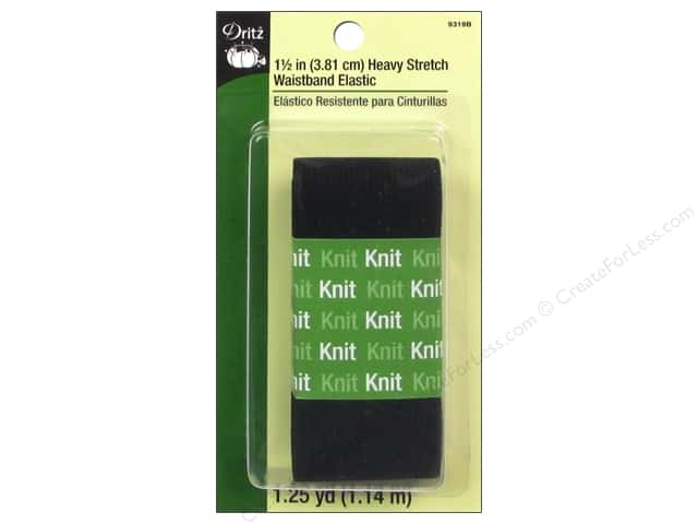 Heavy Stretch Waistband Elastic by Dritz Black 1 1/2 in x 1 1/4 yd