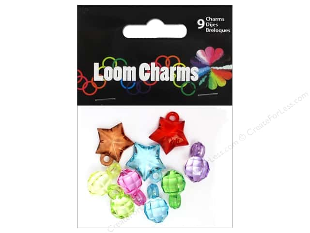 Midwest Design Loom Bands 9 pc. Charm Acrylic Assorted