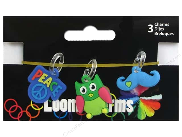 Midwest Design Loom Bands 3 pc. Charm Retro Assorted