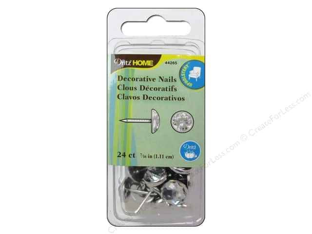 Dritz Decorative Nails 7/16 in. Round Crystal Clear 24 pc.