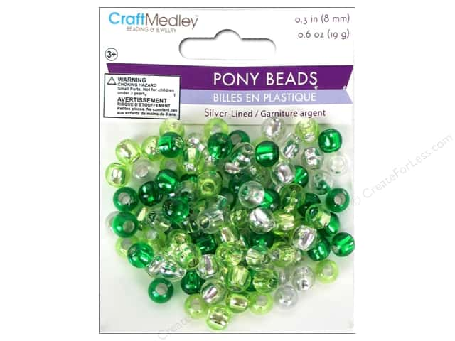 Multicraft Bead Pony 8mm 19gm Silver-Lined Go Green