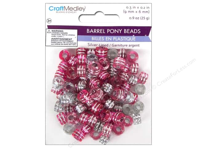 Multicraft Bead Pony 9x6mm 25gm Barrel Pink