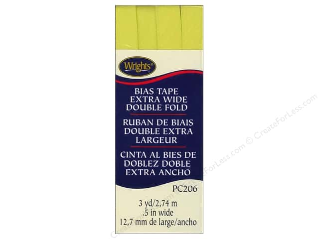 Wrights Extra Wide Double Fold Bias Tape 3 yd. Citron
