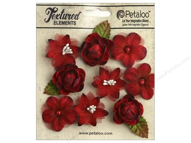 Petaloo Textured Elements Mini Blossoms Red
