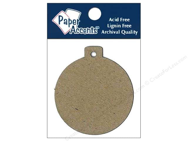 Paper Accents Chipboard Shape Ornament Tag #12 pc. Natural
