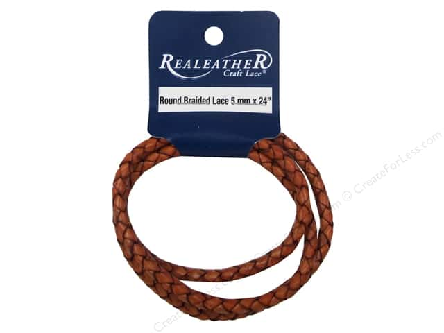 Silver Creek Leather Lace Braided 5 mm x 24 in. Cognac