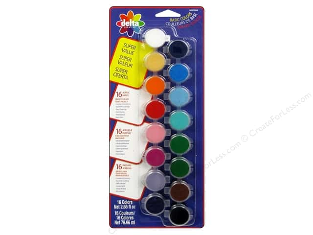 Delta Ceramcoat Paint Pot Set Super Value Basic - 16 Colors