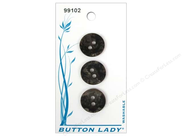 JHB Button Lady Buttons 5/8 in. Black #99102 3 pc.