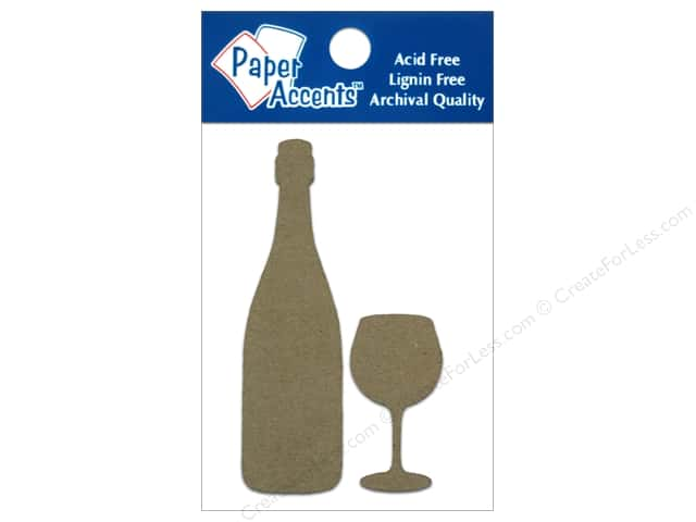 Paper Accents Chipboard Shape ine Bottle & Wide Bowl Wine Glass 8 pc. Kraft