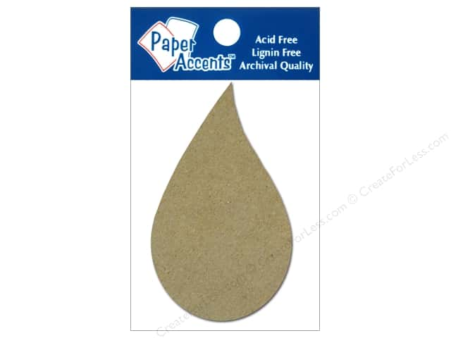 Paper Accents Chipboard Shape Raindrop 8 pc. Natural