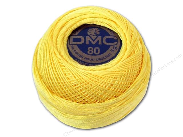 DMC Tatting Cotton Size 80 # 744 Pale Yellow (10 balls)