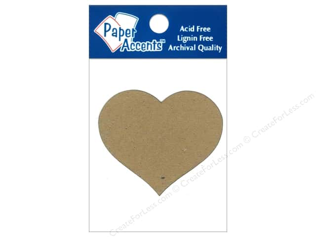Paper Accents Chipboard Shape Heart #2 8 pc. Kraft