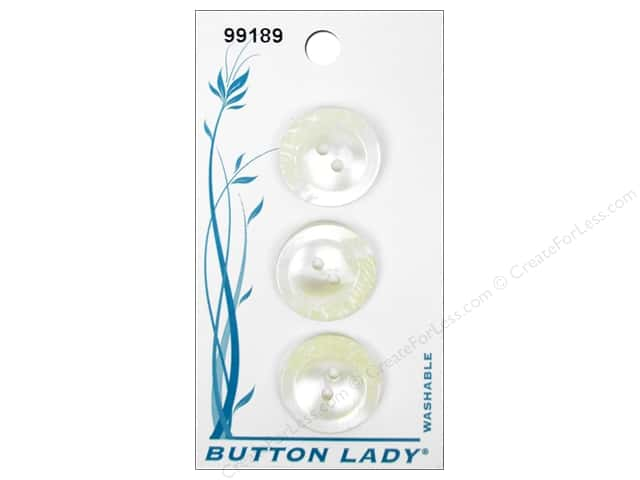 JHB Button Lady Buttons 3/4 in. White & Pearl #99189 3 pc.