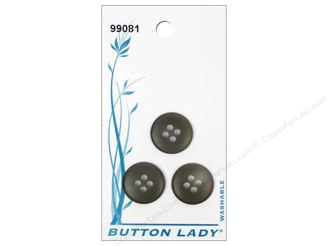 JHB Button Lady Buttons 5/8 in. Dark Grey Smoke #99081 3 pc.