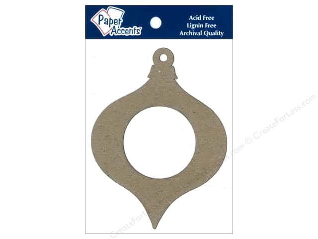 Paper Accents Chipboard Shape Teardrop Ornament #1 With Window 8 pc. Kraft