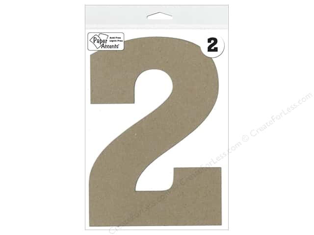 "Paper Accents Chipboard Shape Number ""2"" 8 in. 1 pc. Natural"