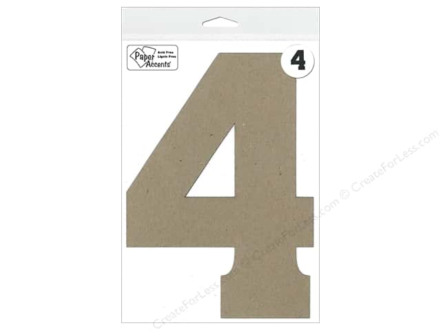 "Paper Accents Chipboard Shape Number ""4"" 8 in. 1 pc. Natural"
