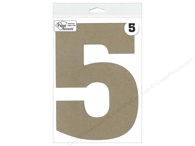 "Paper Accents Chipboard Shape Number ""5"" 8 in. 1 pc. Kraft"
