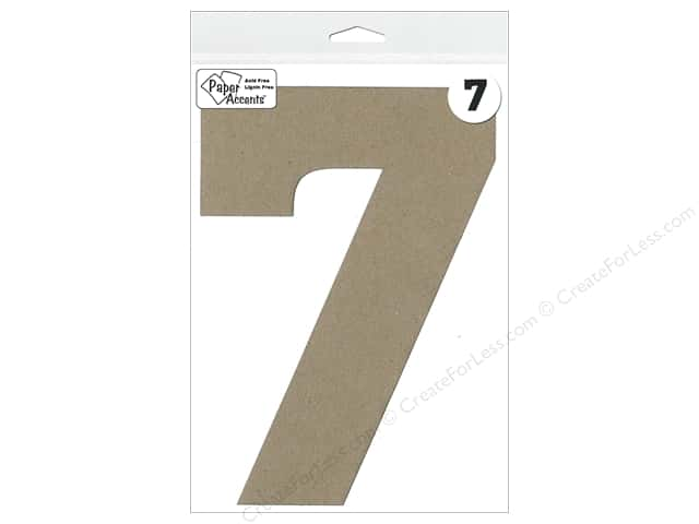 "Paper Accents Chipboard Shape Number ""7"" 8 in. 1 pc. Natural"