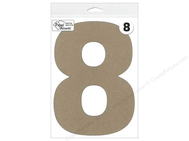 "Paper Accents Chipboard Shape Number ""8"" 8 in. 1 pc. Kraft"