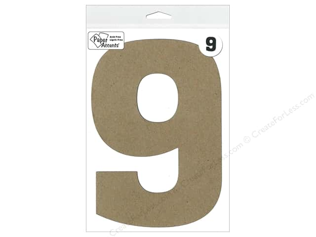 "Paper Accents Chipboard Shape Number ""9"" 8 in. 1 pc. Natural"