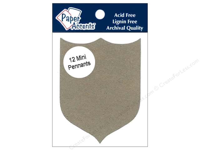 Paper Accents Chipboard Pennants 2 1/2 x 4 in. Mini Shield 12 pc. Kraft