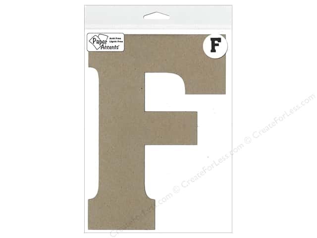 "Paper Accents Chipboard Shape Letter ""F"" 8 in. 1 pc. Kraft"