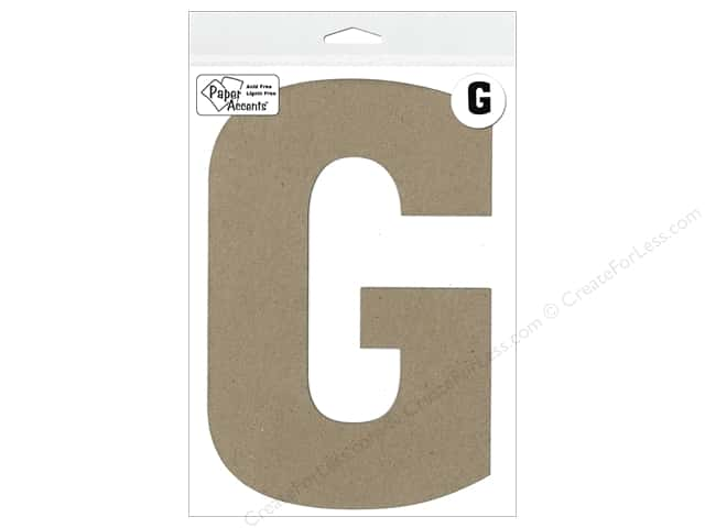 "Paper Accents Chipboard Shape Letter ""G"" 8 in. 1 pc. Natural"