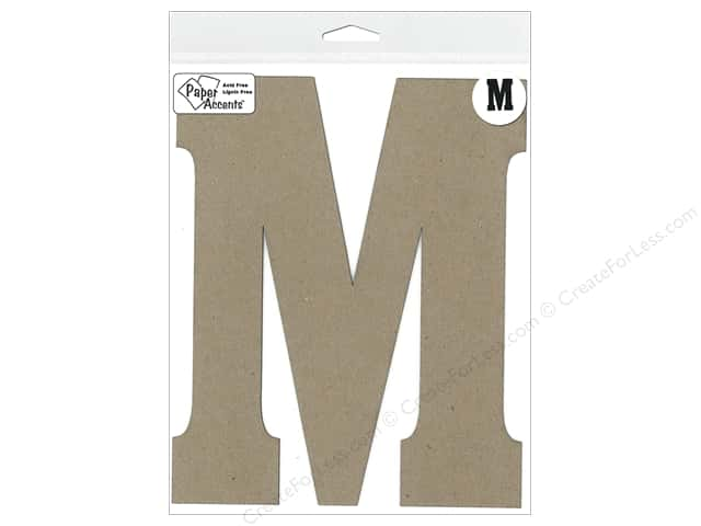 "Paper Accents Chipboard Shape Letter ""M"" 8 in. 1 pc. Natural"