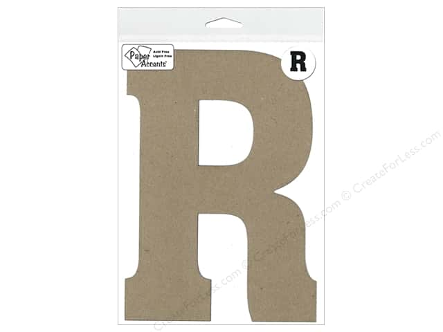 "Paper Accents Chipboard Shape Letter ""R"" 8 in. 1 pc. Natural"