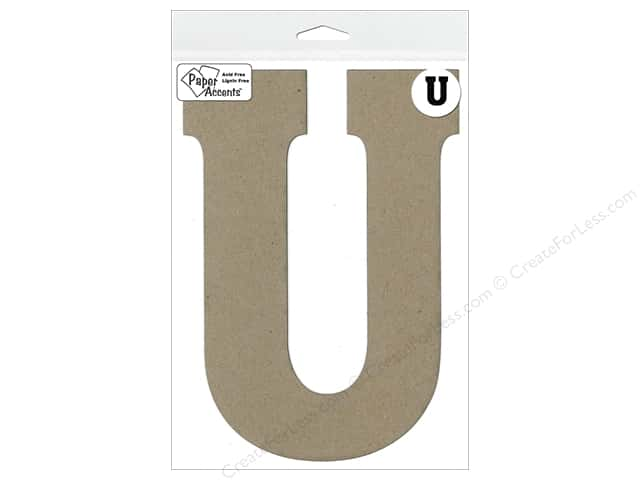 """Paper Accents Chipboard Shape Letter """"U"""" 8 in. 1 pc. Natural"""
