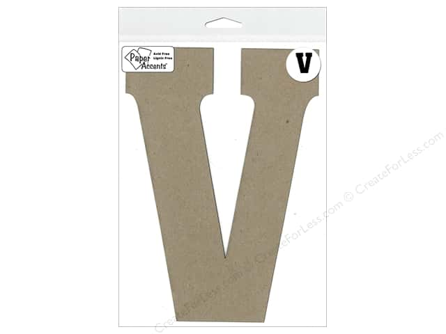 "Paper Accents Chipboard Shape Letter ""V"" 8 in. 1 pc. Kraft"