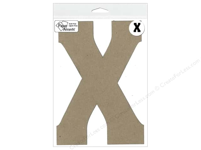 "Paper Accents Chipboard Shape Letter ""X"" 8 in. 1 pc. Natural"