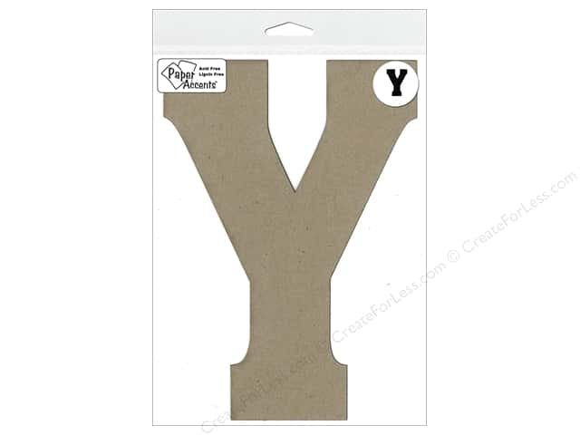 "Paper Accents Chipboard Shape Letter ""Y"" 8 in. 1 pc. Kraft"