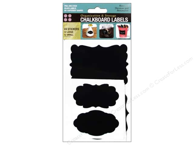 Darice Sticker Chalkboard Label Assorted Black 24pc