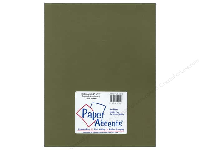 Cardstock 8 1/2 x 11 in. Smooth Tank Green by Paper Accents (25 sheets)