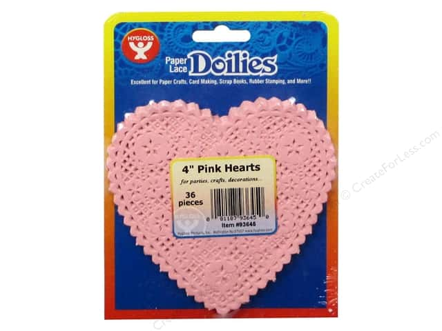 Hygloss Paper Lace Doilies Heart 4 in. Pink 36 pc.