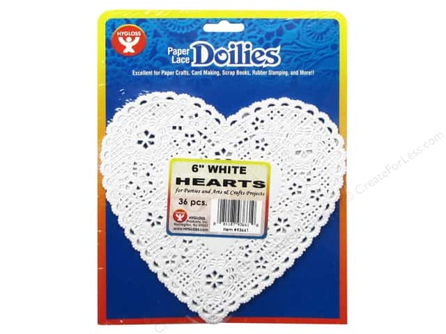 Hygloss Paper Lace Doilies Heart 6 in. White 36 pc.