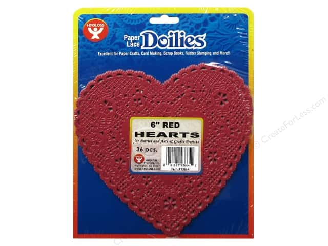 Hygloss Paper Lace Doilies Heart 6 in. Red 36 pc.