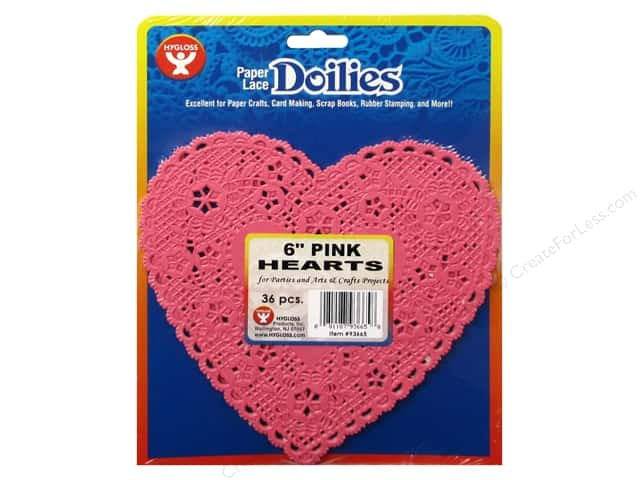 Hygloss Paper Lace Doilies Heart 6 in. Pink 36 pc.