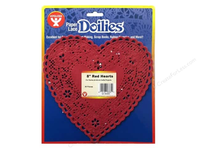 Hygloss Paper Lace Doilies Heart 8 in. Red 36 pc.