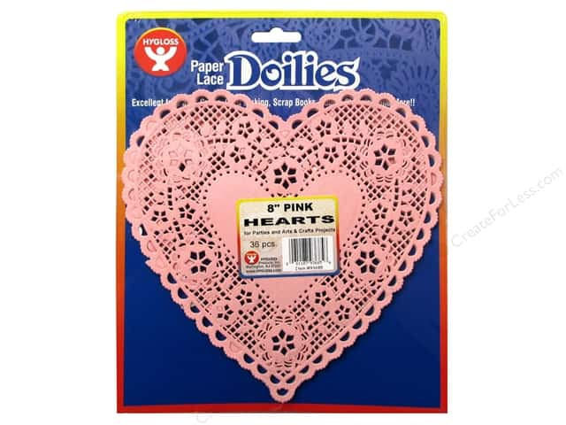 Hygloss Paper Lace Doilies Heart 8 in. Pink 36 pc.
