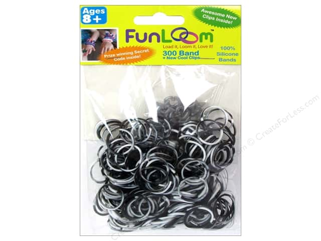 FunLoom Silicone Bands 300 pc. Tie Dye Black &  White
