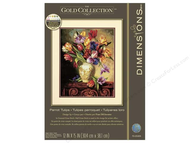 Dimensions Counted Cross Stitch Kit 12 x 15 in. Parrot Tulips