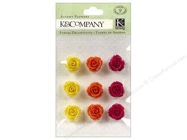 K & Company Stickers Lily Ashbury Raspberry Lemonade Accent Flowers