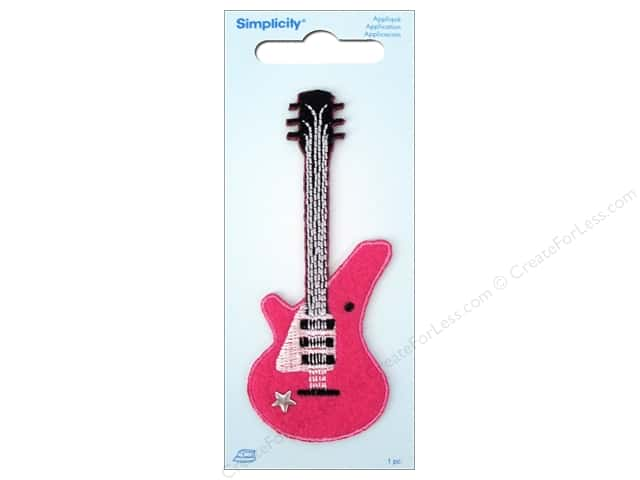 Simplicity Iron On Applique Pink Guitar